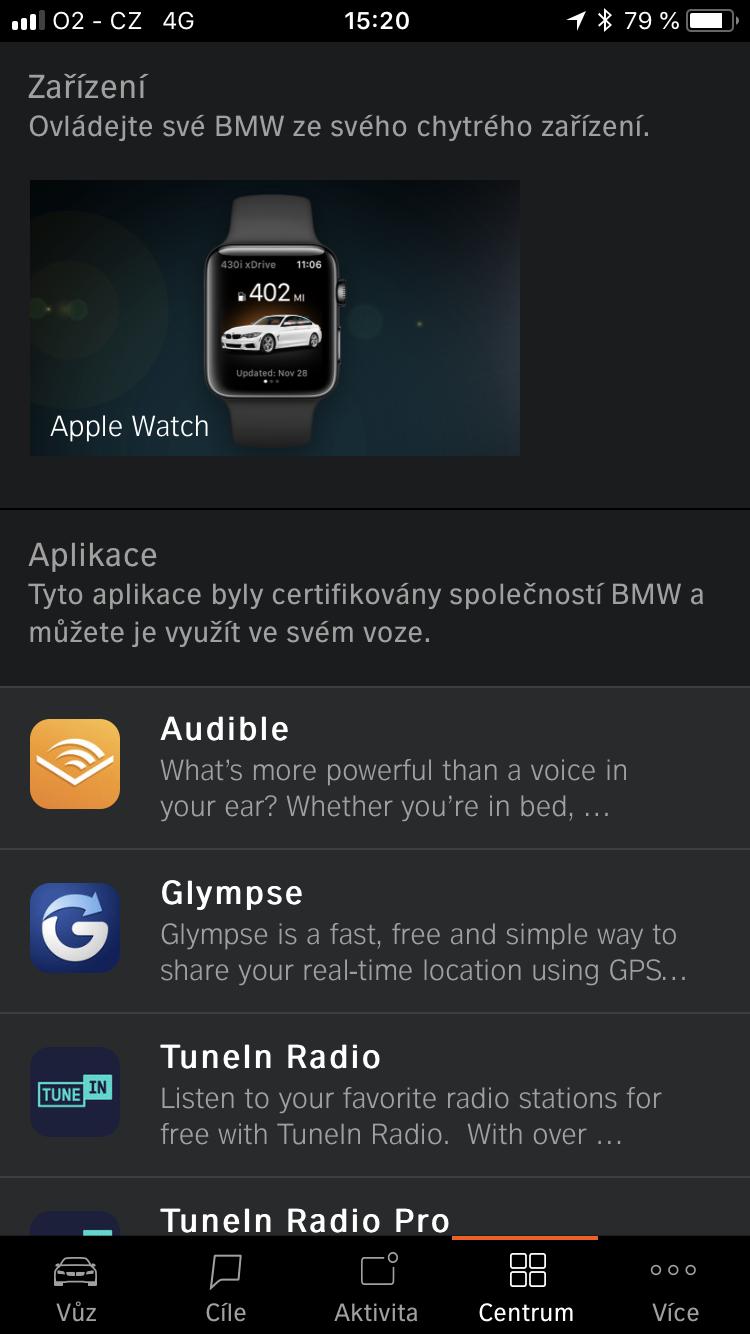 Mobilní aplikace BMW Connected
